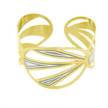Frederic Duclos  Sterling Silver And Yellow Gold Plated Tropics Cuff