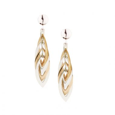 Frederic Duclos  Sterling Silver And Rose Gold Plated Marquis Earrings