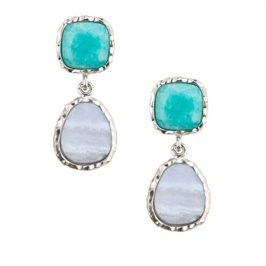 Frederic Duclos  Ss Amazonite Chalcedony Drops Earrings