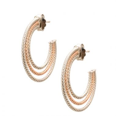 Frederic Duclos  Sterling Silver Rose Gold Plated Triple Hoop