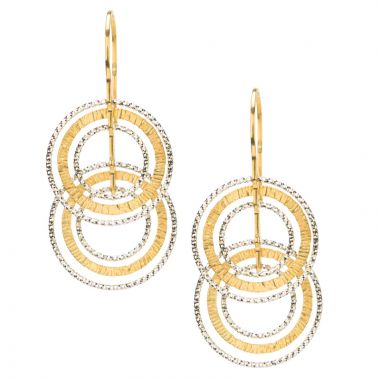 Frederic Duclos  Sterling Silver  And Yellow Gold Plated Textured Ooh'S Earrings