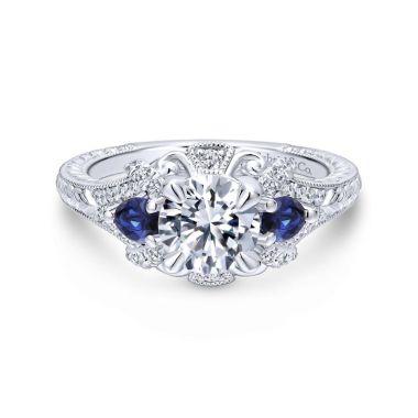 Gabriel & Co. 14k White Gold Victorian 3 Stone Diamond & Gemstone Engagement Ring