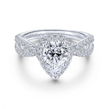 Gabriel & Co. 14k White Gold Contemporary Halo Engagement Ring