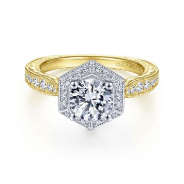 Gabriel & Co. 14k Two Tone Gold Art Deco Halo Engagement Ring