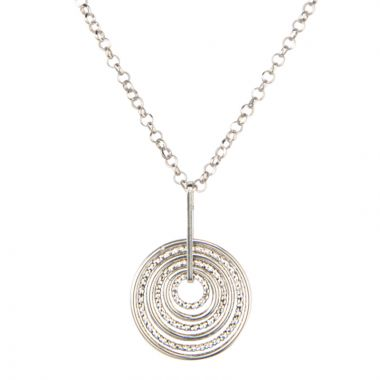 Frederic Duclos  Sterling Silver Smooth And Sparkle Necklace