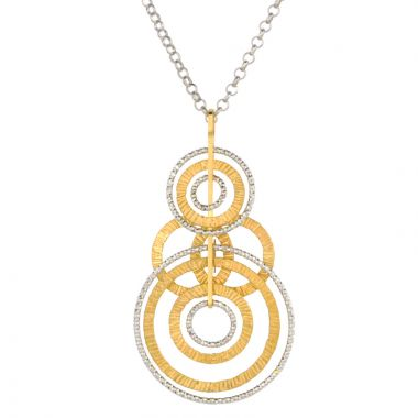 Frederic Duclos  Sterling Silver And Yellow Gold Plated Textured Ooh'S Necklace