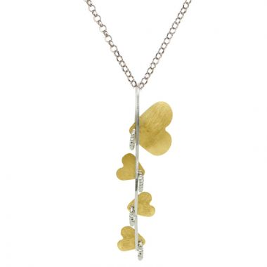 Frederic Duclos  Sterling Silver And Yellow Gold Plated Beanstalk Heart Necklace