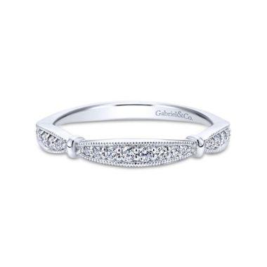 Gabriel & Co. 14k White Gold Victorian Diamond Wedding Band